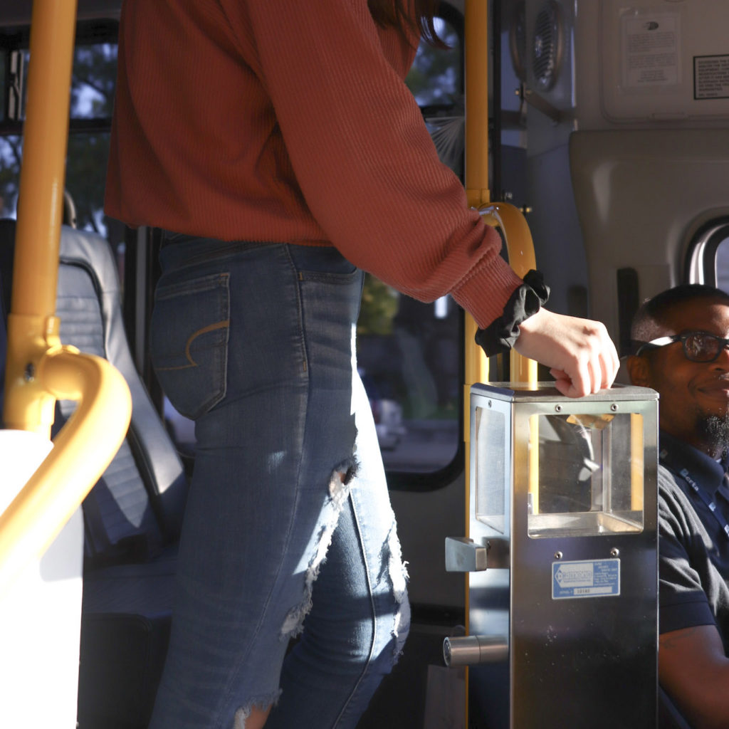 woman paying fare